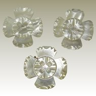 3 Victorian Carved Mother Of Pearl Flower Scatter Pins/Brooches.