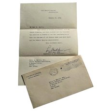 Official White House Letter & Mailed Envelope from Louis McHenry Howe- 1934.