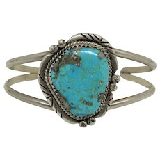 Native American Navajo Indian Sterling Silver Turquoise Cuff Bracelet.