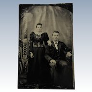 Tintype Photograph Man and Woman-She Has Strabismus {Crossed Eyes}.