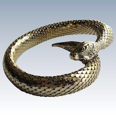 Whiting & Davis Mid Century Gold Mesh Coil Snake Bracelet -Egyptian Revival Jewelry