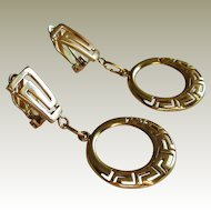 14K Gold -585 European Classic Greek Key Design Dangle Earrings.