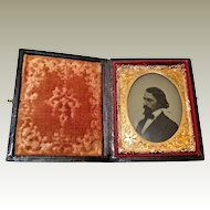 Ambrotype Profile Of Handsome Man in Leather Embossed Case- 9th Plate.
