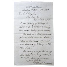 Signed Letter Secretary of Treasury William Adams Richardson-1881