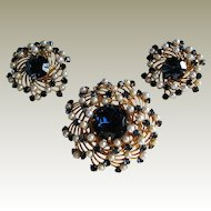 Judy Lee Sapphire Blue Rhinestone Faux Pearl Brooch and Earrings.