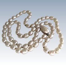 Miriam Haskell Long Glass Baroque Pearl Necklace.