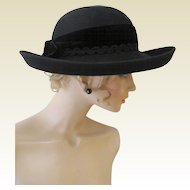 George W. Bollman 100% Black Wool Wide Upturned Brim Hat.