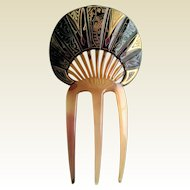 Art Deco Celluloid Japanese Scenic Hair Comb.