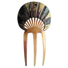 Art Deco Celluloid Japanese Scenic Hair Comb.