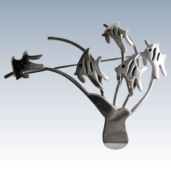 Sterling Silver Hand Wrought Modernist Brooch B.Y Laura- 5 Angel Fish.