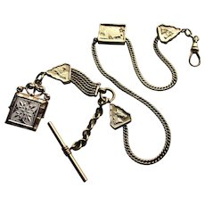 Victorian Albert Gold Filled Pocket Watch Chain-Horse Theme.