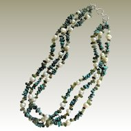 Southwestern 3 Strand Turquoise, Quartz, Peridot, and Baroque Pearl Necklace.