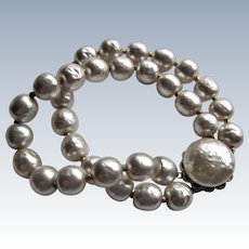 Miriam Haskell Signed Glass Faux Baroque Pearl Bracelet.