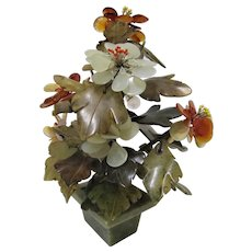 Chinese Export Sculptured Jade and Quartz Flower Tree.