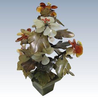 Chinese Export Sculptured Jade and Quartz Flower Tree.