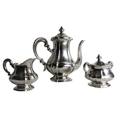 Fine Sterling Silver .925 Three Piece Tea Service by Gottlieb Kurz. Germany. 1930