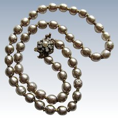Classic Signed Miriam Haskell Glass Faux Baroque Pearl Necklace- 20''