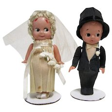 1930s Celluloid Bride and Groom Crepe Paper Wedding Cake Toppers.