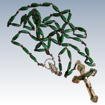 Czech Art Glass Rosary and Crucifix Made In Italy.