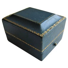 Vintage Blue Leather Push Button Presentation Ring Box.