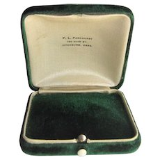 Plush Green Velvet Domed Push Button Jewelry Box-Fitchburg, Mass 1920s.