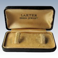 19th Century Black Leather Cufflink Presentation Box