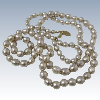 Classic Signed Miriam Haskell Faux Baroque Pearl Opera Length Necklace- 34''