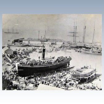 Vintage Photograph~Launching of the Tugboat 'Monach' San Francisco Museum 1939.