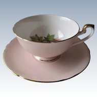 Shelley Blush Pink Gainsborough Footed Cup and Saucer-  Fruit Center