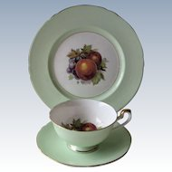 Shelley Green Gainsborough Footed Cup, Saucer and Luncheon Plate Trio- Fruit