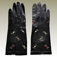 Black Leather Hand Embroidered Gloves. Never Worn -Size 6-1/2