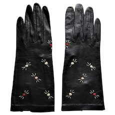Black Leather Hand Embroidered Gloves. Never Worn -Size 6-1/2 - Red Tag Sale Item