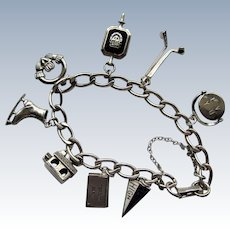 Sterling Silver 925 Charm Bracelet with 8 Charms-1960s.