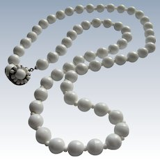 Classic Signed Miriam Haskell White Milkglass Bead Necklace- 24''