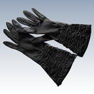 Vintage Black 100% Nylon Ruched Gloves by Shalimar. U.S.A. Size 7.