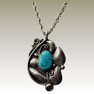 Signed Glen Adakai Navajo Sterling Silver Turquoise Pendant and Chain.