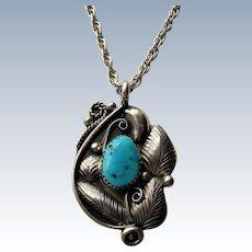 Signed Glen Adakai Navajo Sterling Silver Turquoise Pendant and Chain.