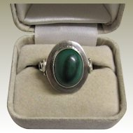 Sterling Silver and Malachite Signed Native American Navajo Ring. Size 7