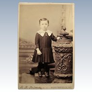 Cabinet Card Photograph- Little Roy A. Chase From Northfield, VT. 1885.