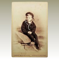 Cabinet Card of Small Boy in Sailor Suit -Lambert Western & Son-Dover & Folkestone, England.