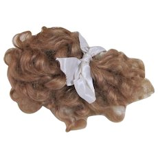 Antique German Strawberry Blond Mohair Wig For Bisque Head Doll.