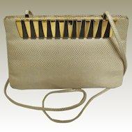 Judith Leiber Vintage Beige Snakeskin Shoulder Bag with Accessories- Mint