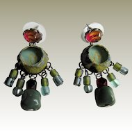 Ayala Bar Dangle Bead, Glass and Fabric Earrings. Israel