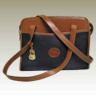 Dooney &  Bourke All Weather British Tan and Black Pebble Shoulder Bag.