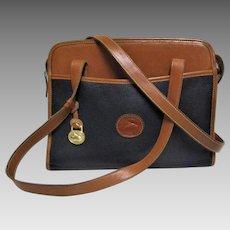 Dooney &  Bourke All Weather British Tan and Black Pebble Shoulder Bag.