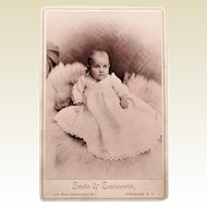 Victorian Cabinet Card-Bright Eyed Baby on Fur Rug. Syracuse, N.Y.