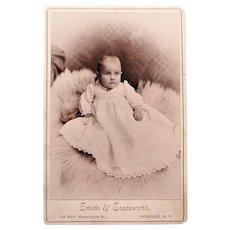 Victorian Cabinet Card-Bright Eyed Baby on Fur Rug. Syracuse, N.Y.