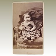 Hidden Mother CDV Of Happy Bright Eyed Baby Girl. Lowell, MA.
