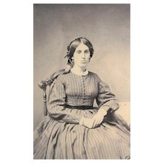 Civil War Era CDV Photograph- Poised Young Lady. Revenue Tax Stamp.