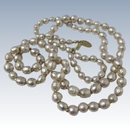 Signed Miriam Haskell Faux Baroque Pearl Opera Length Necklace- 34''